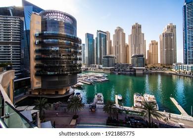 DUBAI, UAE - December, 2020: Dubai Marina. Dubai was the fastest developing city in the world