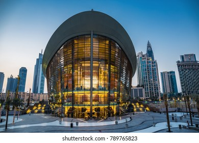 DUBAI, UAE - DECEMBER 3, 2017: Dubai Opera House at night