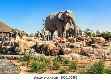 Dubai, UAE - December 30, 2017. central sculpture of wild animals in Dubai safari park. Dubai Safari Park is a park in Dubai, where animals from all over the world are gathered.