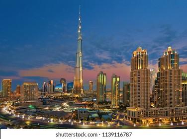 Dubai, UAE,  December 31, 2013 Burj Khalifa at the magical blue hour