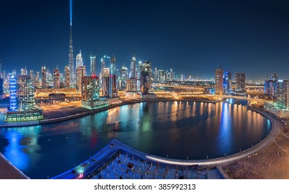 Dubai, UAE December, 31 2015: Burj Khalifa Launches the Light Ray in the sky in preparation for the new year eve