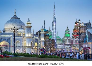 DUBAI, UAE - DECEMBER 4, 2017: General view of the park entertainment center Global Village