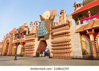 DUBAI, UAE - DECEMBER 4, 2017: Pavilion India in the park entertainment center Global Village