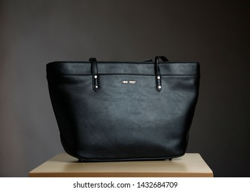 Dubai / UAE - December 5 2018: Beautiful black handbag from the nine west brand. Its one of their special product