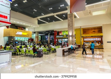 DUBAI, UAE - DECEMBER 5: Food court in Dubai Mall, UAE. December 5, 2015 in Dubai, United Arab Emirates