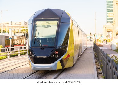 DUBAI, UAE - DECEMBER 5: New modern tram in Dubai, UAE. December 5, 2015 in Dubai, United Arab Emirates