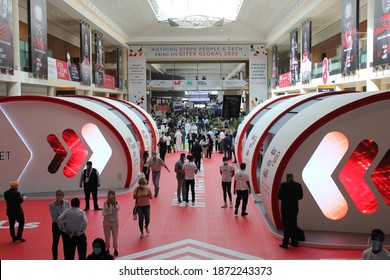 Dubai, UAE - December 6-10, 2020: Scene at Gitex Technology Week 2020 - the biggest in-person technology event in the world during the Covid-19 pandemic - featuring exhibitors from 60+ countries.