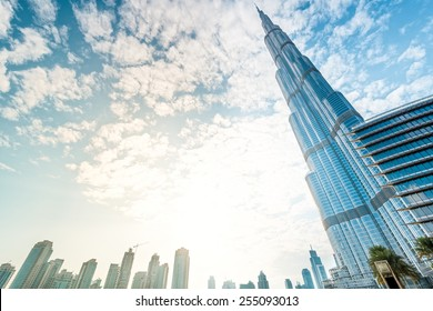 Dubai, UAE - December 8, 2012: Burj Khalifa vanishing in blue sky. It is tallest structure in world since 2010, 829.8 metres.