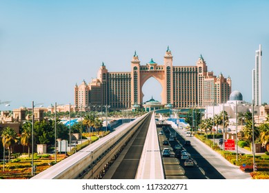 Dubai, UAE - December 9, 2014: View of the Atlantis Resort luxury hotel at La Palm Jumeirah in Dubai.