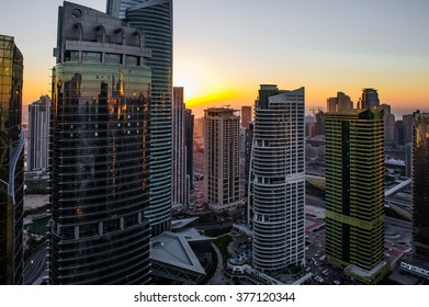 DUBAI, UAE - FABRYARY 03: Residential buildings in Jumeirah Lake Towers, on Fabryary 03, 2016 in Dubai, UAE. The JLT is a large development which consists of 79 towers with 4 artificial lakes.