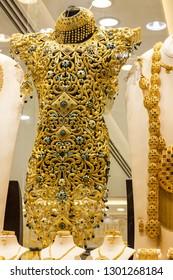 Dubai, UAE - Feb 1, 2019: Jewellery shop in Dubai market Gold Souk.