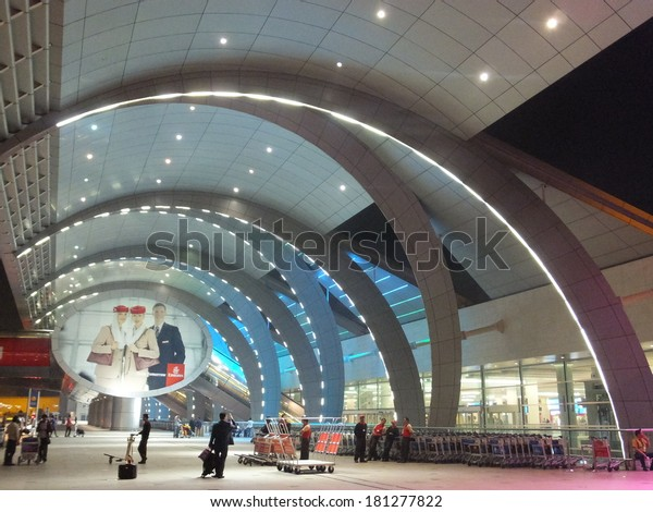 DUBAI, UAE - FEB 1: The newer Terminal 3 (Emirates) at Dubai International Airport, one of the busiest airports, on Feb 1, 2014. It is the single largest building in the world by floor space.