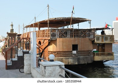 DUBAI, UAE - FEB 13: Boats, abras, dhows at Dubai Creek in the UAE, as seen on Feb 13, 2014. The creek still remains a significant trading hub for goods traded between Iran and The Arabian Peninsula.