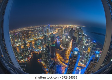DUBAI, UAE - Feb 15 : A skyline view of Dubai Marina showing the Marina and JBR on Feb 15, 2016 in Dubai, UAE. Dubai Marina is an artificial 3 km canal carved along the Persian Gulf shoreline