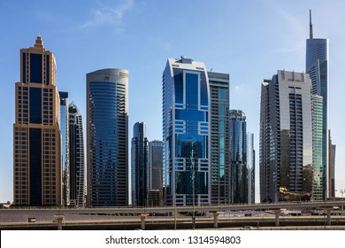 Dubai, UAE - Feb 16, 2019: Skyscrapers on Sheikh Zayed road.