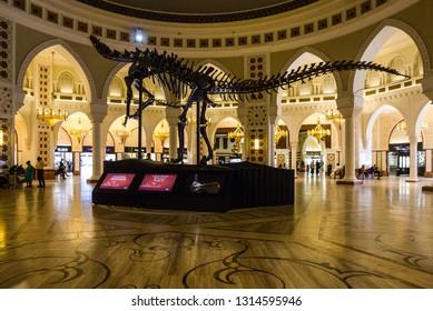 Dubai, UAE - Feb 16, 2019: Dinosaur gigantic real skeleton (155 million years) in interior of Dubai mall trade entertaining center.