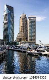 Dubai, UAE - Feb 16, 2019: Dubai marina skyscrapers.