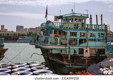 Dubai, UAE - Feb 16, 2019: Indian old wooden vessel in Dubai port