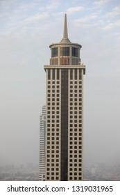 Dubai, UAE – Feb 16 2019 : Close up of  Khalid Al Attar Tower 2 from Level 43 Sky lounge Dubai.