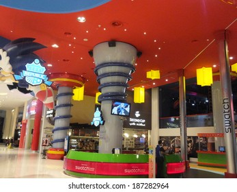 DUBAI, UAE - FEB 16: Kids section at Dubai Mall in Dubai, UAE, on Feb 16, 2014,. At over 12 million sq ft, it is the world's largest shopping mall in total area and 6th largest by gross leasable area.