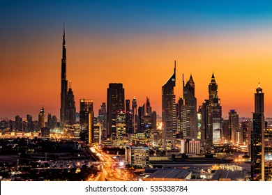 DUBAI, UAE - FEB 18: A beautiful Skyline view of Dubai, UAE as seen from Dubai Frame at sunset showing Burj Khalifa, Emirates Towers, Index Building and DIFC on Feb 18, 2016 in Dubai, UAE