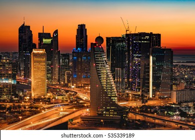 DUBAI, UAE - FEB 18: A beautiful Skyline view of Dubai, UAE as seen from Dubai Frame at sunset showing World Trade Centre, H Hotel, Fairmont, Conrad and Etisalat Tower on Feb 18, 2016 in Dubai, UAE