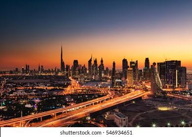 DUBAI, UAE - FEB 18: A beautiful view of Dubai at sunset showing Burj Khalifa, Emirates Towers, Index Building, DIFC, World Trade Centre, H Hotel and Etisalat Tower on Feb 18, 2016 in Dubai, UAE