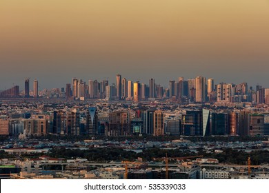 DUBAI, UAE - FEB 18: A skyline view of Deira and Sharjah districts on Feb 18, 2016 in Dubai, UAE. Deira district historically has been the commercial center of Dubai and stands as an important port