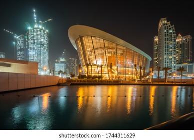 DUBAI, UAE - FEB 19, 2018: Dubai Opera is a performing arts centre located in Downtown Dubai in UAE