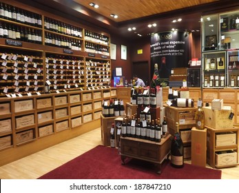 DUBAI, UAE - FEB 22: Wine store at Dubai Duty Free at the International Airport, as seen on Feb 22, 2014, in Dubai, UAE. It is the worlds largest airport retailer based on turnover.