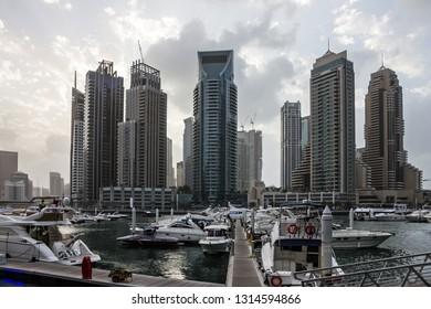 Dubai, UAE - Feb 8, 2019: Dubai marina skyscrapers.