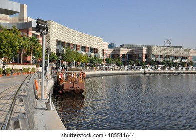 DUBAI, UAE - FEB 8: Festival Centre Waterfront in Dubai, UAE, as seen on Feb 8, 2014. Dubai Festival City is the Middle East's largest mixed-use development.
