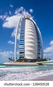 DUBAI, UAE - FEBRUARY 03: Burj Al Arab, considered the world's most luxurious hotel, on February 03, 2013. Built on an artificial island 280m from Jumeirah beach, best recognizable landmark of Dubai, UAE.