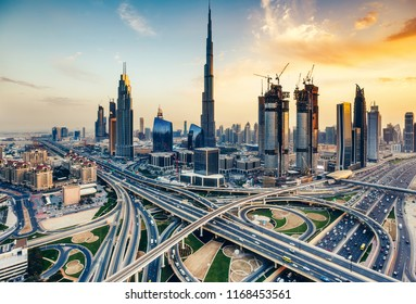 DUBAI, UAE - FEBRUARY 09, 2017: Elevated view of downtown Dubai at daytime with Burj Khalifa and Sheikh Zayed road.