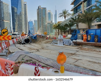 Dubai, UAE - February 1, 2020: RTA footbridge construction in King Salman bin Abdul Aziz Al Saud street