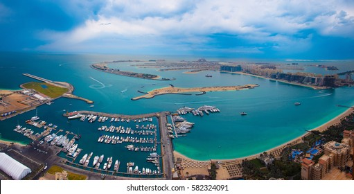 DUBAI, UAE - FEBRUARY 12, 2017: Amazing panoramic view of the Jumeirah palm from a height, the Persian Gulf