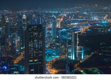 DUBAI, UAE - February 12, 2017: View from At the Top observation deck. Panoramic view from Level 124 of Burj Khalifa at night.