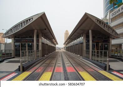 DUBAI, UAE - FEBRUARY 12, 2017: A modern exterior of a tram station number 7 - Mina Seyahi