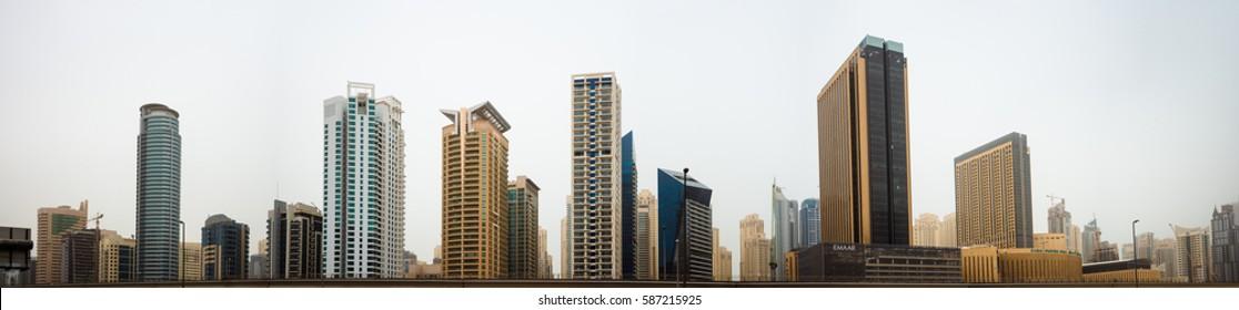 DUBAI, UAE - FEBRUARY 13, 2017: Panoramic view of Jumeirah Lakes Towers skyscrapers