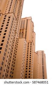 DUBAI, UAE - FEBRUARY 13, 2017: Modern skyscrapers in arabian style, isolated on a white background