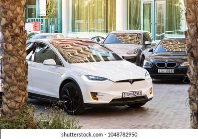 Dubai, UAE February 14, 2018: White Tesla model X in the parking lot