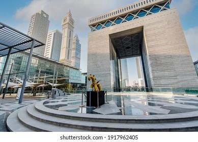Dubai, Uae, February 14, 2021 Difc, Dubai international financial center. Capital gate tower.