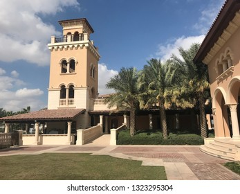 Dubai, UAE -February 15, 2019: Jumeirah Golf Estate Clubhouse