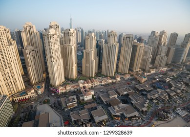 DUBAI, UAE - February 16, 2018: Aerial view of residential buildings at Jumeirah Beach Residence (JBR) in Dubai, UAE