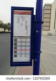 Dubai, uae - February 16,2019 : RTA bus stop details board in al qouz, Dubai.