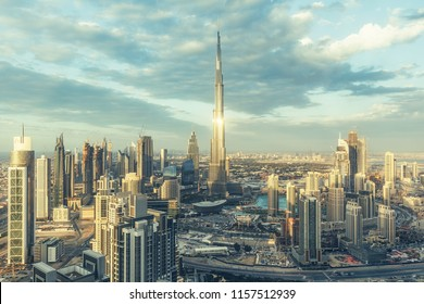 DUBAI, UAE - FEBRUARY 18, 2017: Elevated view on downtown Dubai, UAE, with Burj Khalifa and skyscrapers of the business bay.