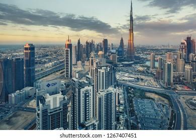 DUBAI, UAE - FEBRUARY 18, 2017: Elevated view on downtown Dubai, UAE, with Burj Khalifa and skyscrapers of the business bay.