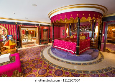 Dubai, UAE - FEBRUARY 18, 2018: Burj Al Arab royal suite. Interior of Burj Al Arab famous Dubai hotel. 7 star luxury hotel. Dubai symbol. Iconic the most luxurious hotel in the world. Luxury bedroom.