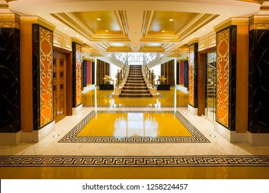 Dubai, UAE - FEBRUARY 18, 2018: Burj Al Arab royal suite. Interior of Burj Al Arab famous Dubai hotel. 7 star luxury hotel. Dubai symbol. Iconic the most luxurious hotel in the world. Entrance.