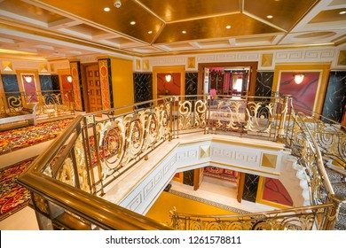 Dubai, UAE - FEBRUARY 18, 2018: Burj Al Arab royal suite. Interior of Burj Al Arab famous Dubai hotel. 7 star luxury hotel. Dubai symbol. Iconic the most luxurious hotel in the world. Stairway.